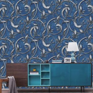 Blue and Silver Classical Design for Walls